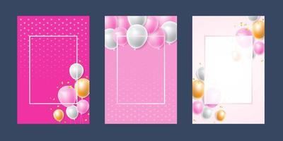 Invitation card background pink  white confetti and balloon template, artistic covers design, colorful texture, geometric. Trendy pattern, graphic poster, brochure, Vector design