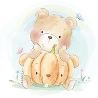 Cute bear with floral illustration vector