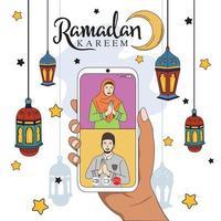 Ramadan Gathering via cellphone, with a flat illustration design style, with a beautiful Ramadan Kareem background. vector