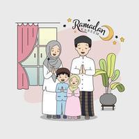 family muslim celebration beautiful ramadan kareem flat illustration design, template. vector