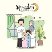 beautiful ramadan kareem design family celebration flat illustration, illustration design template. vector