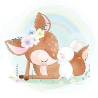 Cute bunny playing with deer illustration vector