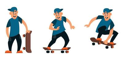 Skateboarder in different poses set vector