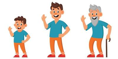 Male character of different ages set vector