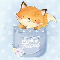 lindo foxy sentado dentro de la ilustración de bolsillo vector