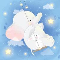 Cute elephant with bunny on a swing vector