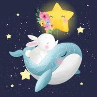 Cute whale with bunny illustration vector