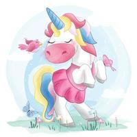 Cute unicorn with bird illustration vector