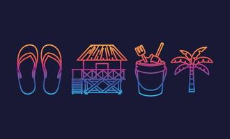 Hello summer and vacation icon set vector