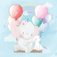 Cute elephant with bunny flying with balloons illustration vector