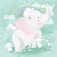 Cute elephant with bunny illustration vector