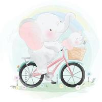 Cute elephant father and son riding a bike illustration vector