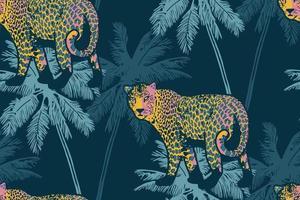 patrón transparente tropical con palmeras y leopardo. vector