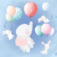 lindo elefante con conejitos flotando con globos vector