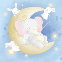 Cute elephant with bunnies on the moon illustration vector
