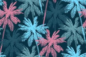Stylish summer seamless pattern with palm trees. vector