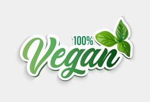 Vegan symbol. 100 vegan. Vector illustration.