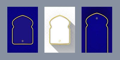 greeting cards islamic pattern blue white background with gold window door for text message vector design