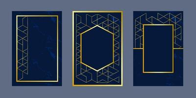 geometric background invitation cards  blue luxury gold line pattern vector design template