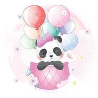 Cute panda flying with air balloon illustration vector
