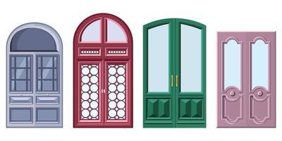 conjunto de puertas dobles en estilo de dibujos animados vector
