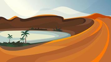 oasis en el desierto. hermoso paisaje natural. vector