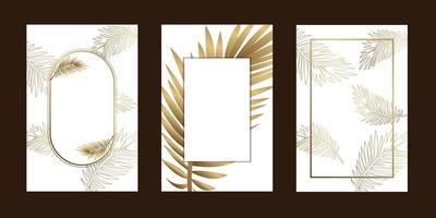 invitation cards  elegant leaf outline gold white background  with frame vector illustration