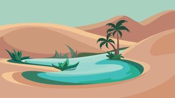 lago en medio del desierto vector