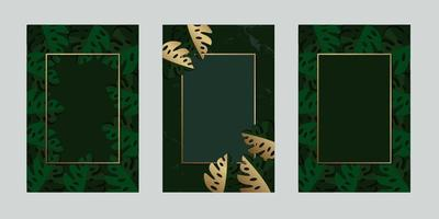 Greenery  invitation card leaf tropical gold with frame for text message vector design illustration