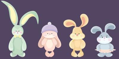 conjunto de conejos de peluche vector