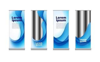 rollup set of Blue and white wave water abstract background template design for picture and text message Business flyer