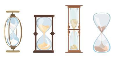 Set of vintage hourglasses vector