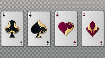 Set of four aces elegant playing cards suits vector