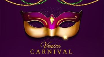 luxury venice carnival party design with mask 3d illustration vector