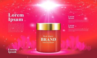red algae supplementary food for health and beauty under the sea background 3d packaging vector design