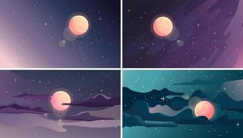 Set of beautiful starry landscapes. vector