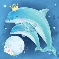 Cute dolphin mother and baby illustration vector