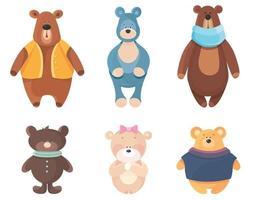conjunto de osos de peluche vector