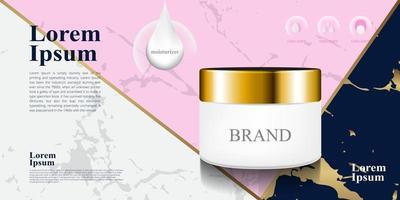 Fondo de color gris rosa azul de lujo de mármol para ilustración de paquete 3d de crema hidratante cosmética vector