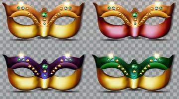 luxury set collection of mardi gras masks vector