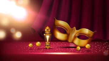 lantern and golden mask at mardi gras parade banner vector