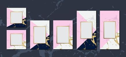luxury invitation cards blue pink marble background collection with gold frame for text message cover poster vector template