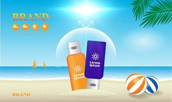 Sunscreen uv protection on the beach background 3d packaging vector illustration