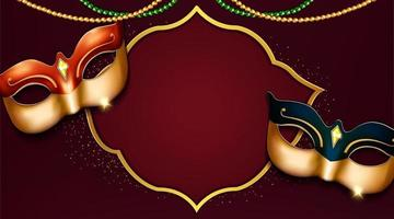 luxury venice carnival party banner design with beautiful masks vector