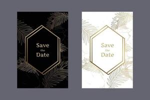 Elegant wedding invitation cards black and white background marble pattern with gold leaves and geometric frames vector design template