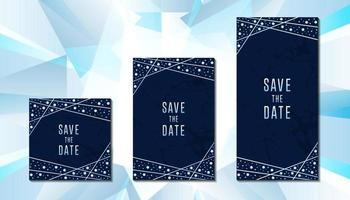 Luxury diamond wedding invitation card template collection with line border vector design