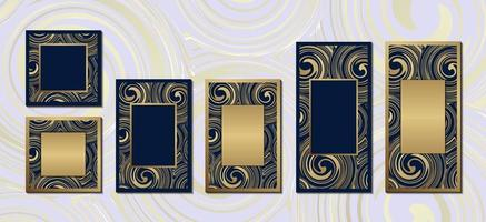 abstract blue gold marble elegant background collection with frame for invitation cards cover poster vector design