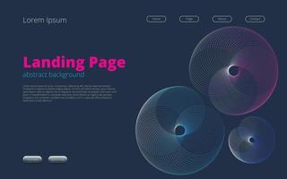 Landing page template for web design with abstract background vector