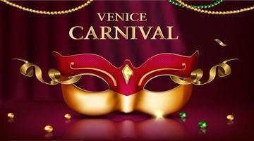 cartel del carnaval de venecia máscara negra adornada con diamantes y marco dorado vector