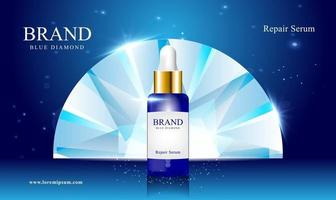 cosmetics repair serum blue diamond background with space and glitter vector illustration